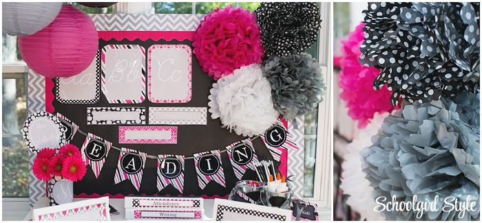 Hot Pink, Black, Gray, chalkboard, polka dots, stripes classroom theme and decor ~Classroom decor by Schoolgirl Style www.schoolgirlstyle.com