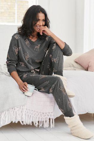 Buy Deer Print Jersey Pyjamas online today at Next: United States of America