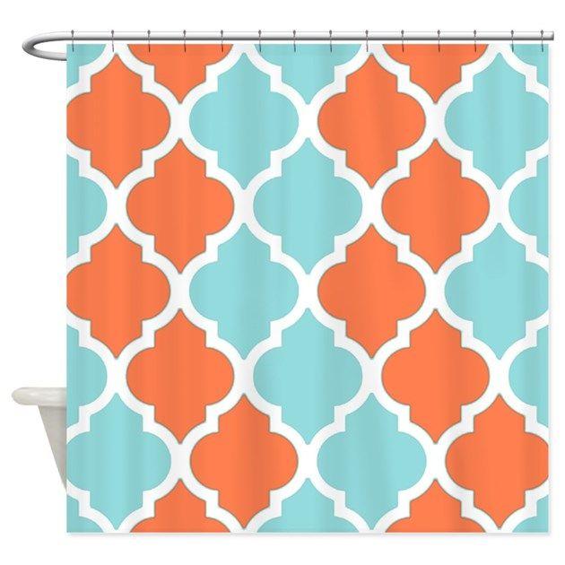 A Coral orange and light blue quatrefoil pattern shower curtain