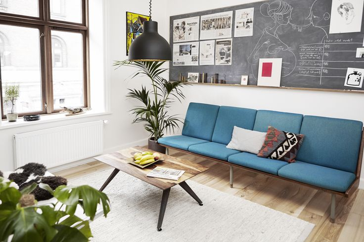Living room  - Rank sofa table prototype  - Mid century sofa  - DIY reused lamp - DIY magnetic chalkboard