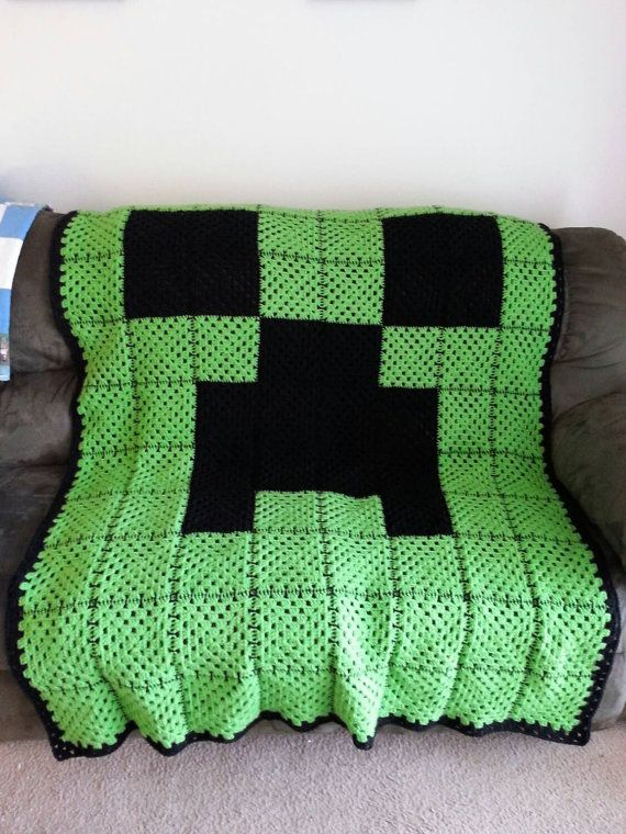 Crocheted Green and Black Creeper Face by StellarGoods on Etsy