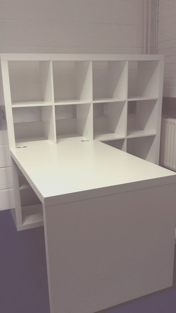 Desk Storage Combination - Ikea Kallax - Attached birch colored Expedit desk to one of the schoolroom Expedits (Kallax). MJ's study/ project table.