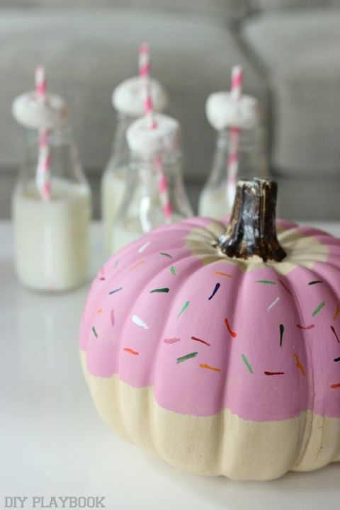 Make this delicious-looking doughnut by painting a craft pumpkin with acrylics for frosting. Add lots of sprinkles with a small paint brush.