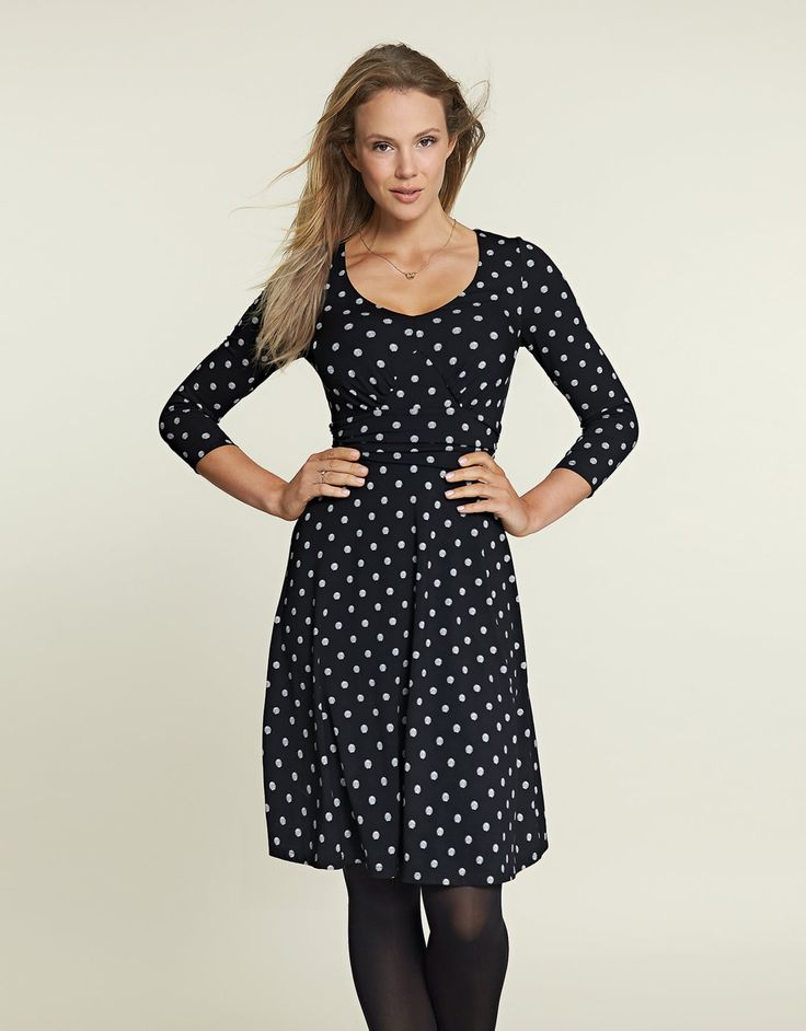 Emma Dress in Black Spot by Bravissimo Clothing
