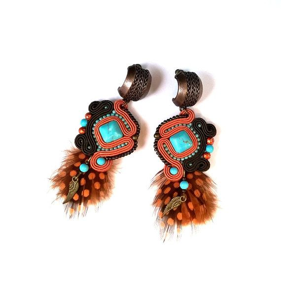 Ethno soutache orange-turquoise earrings, feather earrings, boho jewelry, soutache jewelry