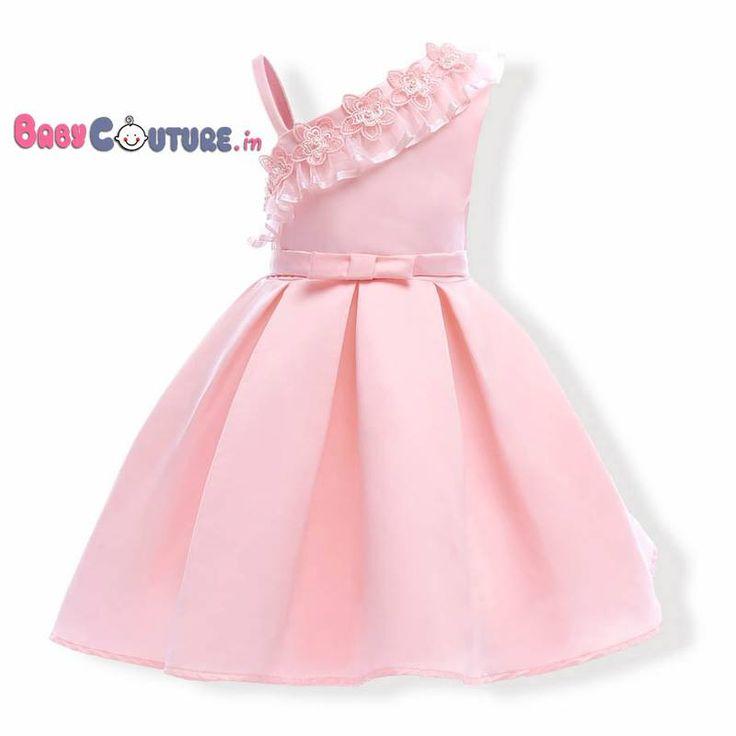 Peachy Pink Stylish Shoulder Flower <b>Kids Dress</b>   Ангелы   <b>Kids</b> ...