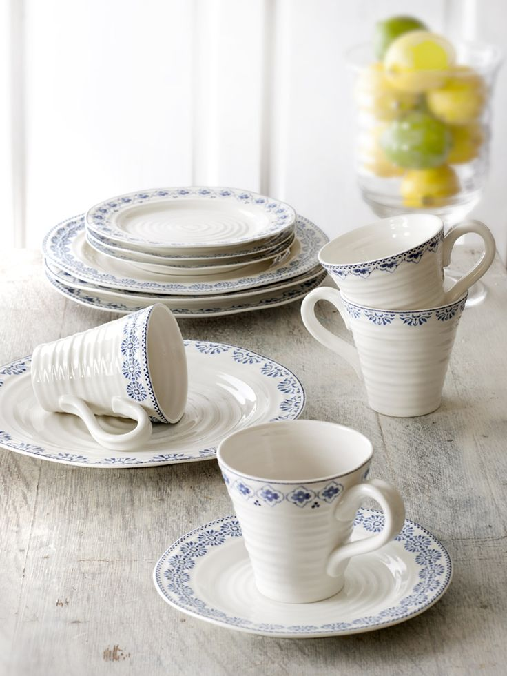 Sophie Conran for Portmeirion Blue dinnerware. In this image: Sophie Blue Mugs, Bistro Plate, Dinner Plates and Side Plates.