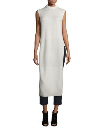 Long+Wool-Blend+Dickey+&+Cropped+Stretch+Suiting+Pants+by+T+by+Alexander+Wang+at+Neiman+Marcus.