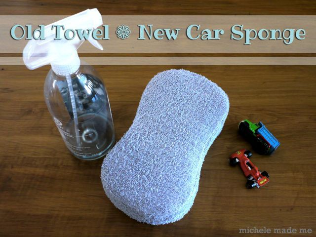 old towel + sponge