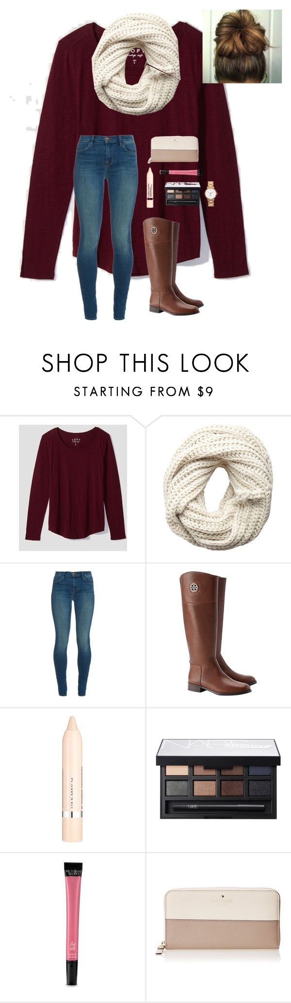 """""""Day 1:Thanksgiving"""" by a-devo ❤ liked on Polyvore featuring LOFT, Pieces, J Brand, Tory Burch, L'Oréal Paris, NARS Cosmetics, Victoria's Secret, Kate Spade and 30DaysOfChristmas2k16"""