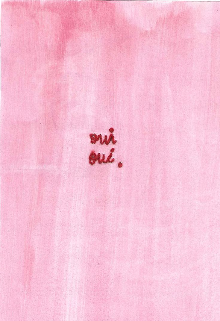 Embroided Oui Oui on Pink Paper. CMB