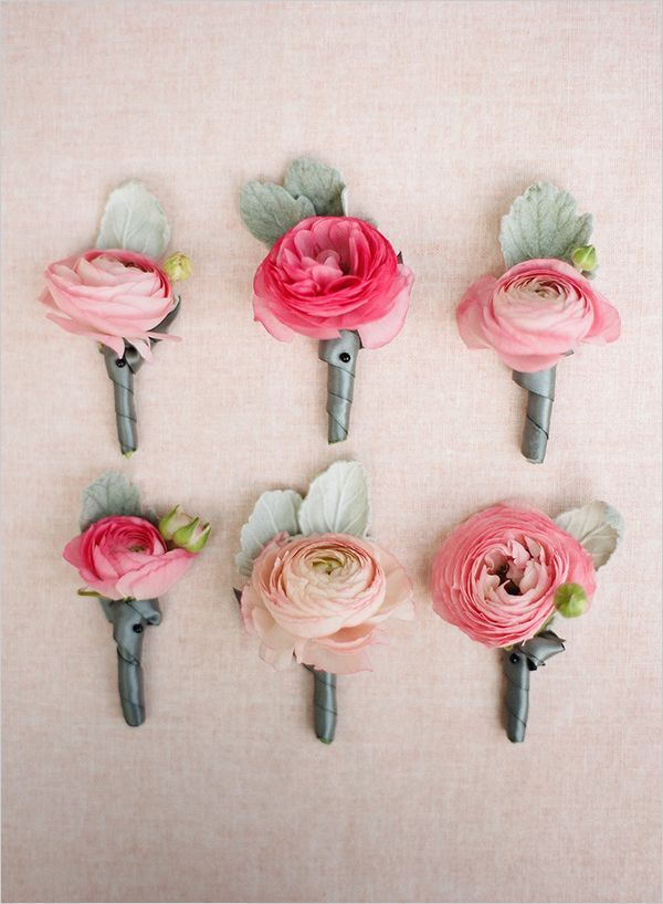 Coral/Pink Ranunculus for the Groom's Boutonniere and the women's corsages. Toss some into my bouquet? Women, Men and Kids Outfit Ideas on our website at 7ootd.com #ootd #7ootd