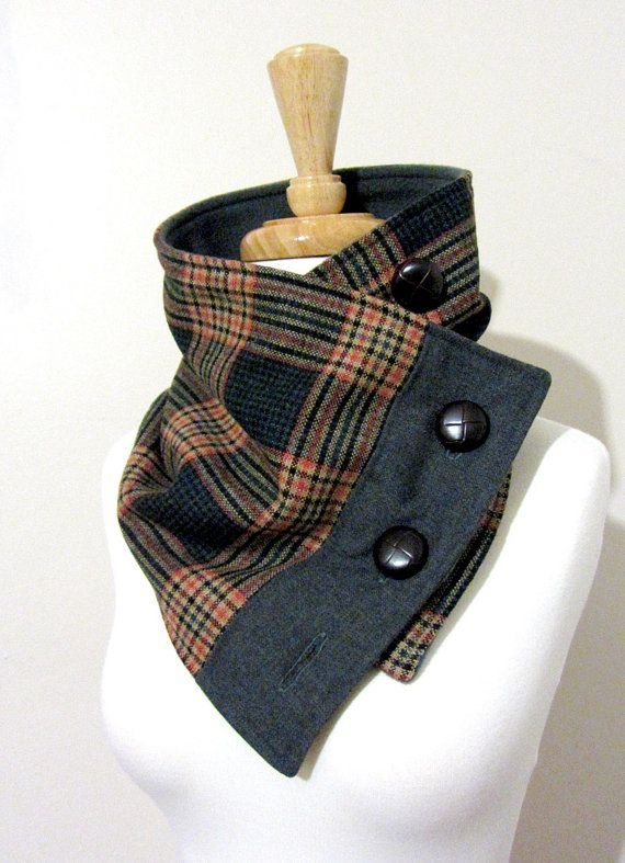RESERVED Teal and Gray Plaid Neck Warmer