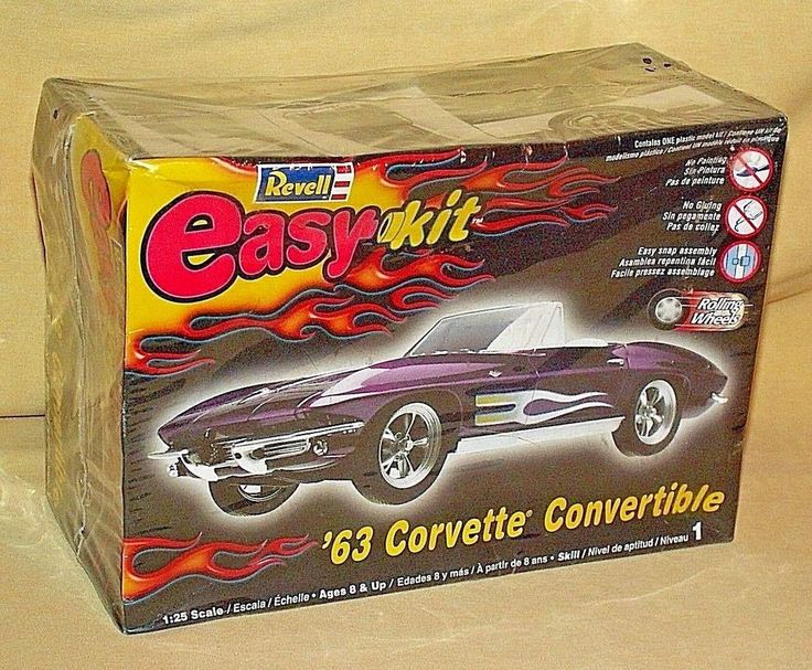 CORVETTE STING RAY 1963 REVELL MONOGRAM PLASTIC MODEL KIT CONV NEW 2004 85-1934 #RevellMonogramEasyKit