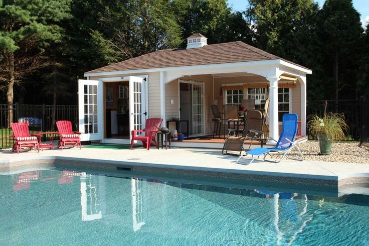 Pool and Pool House Designs with pastel wall color and red blue pool chair
