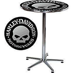 Harley-Davidson Bar Table with Skull Design – Black