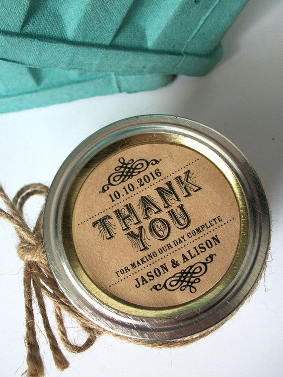 Thank you kraft paper canning jar labels by canningcrafts on etsy