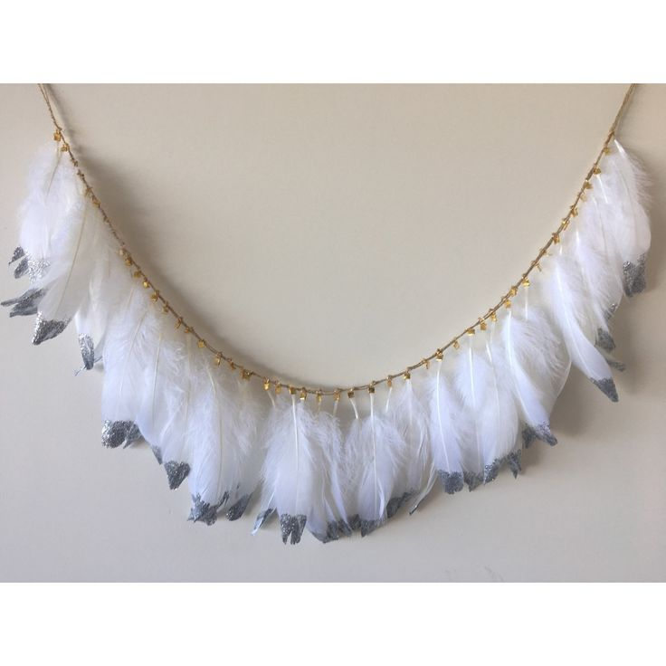 CUSTOM ORDER White + SILVER Glitter Dipped Feather Harland