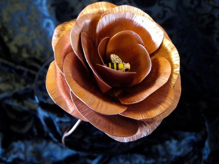 Copper Rose Handmade Copper Art with Stem and Leaves  Bumble Bee in Center