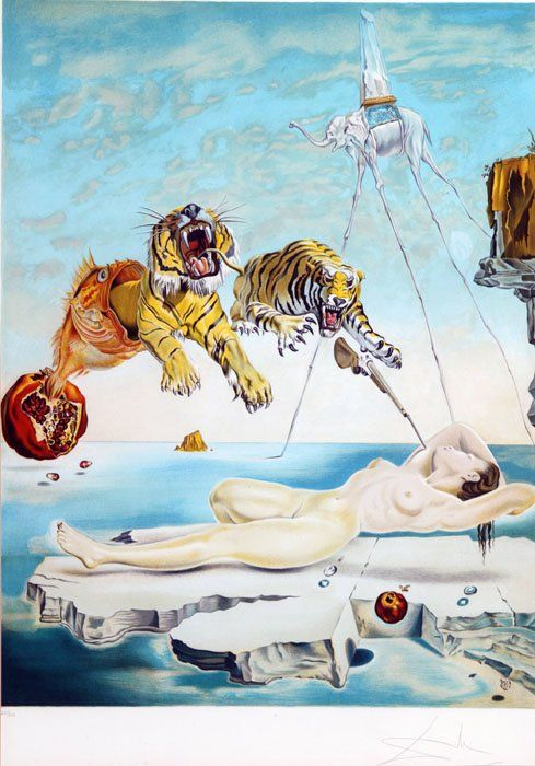 salvador dali tiger painting | 20: Salvador Dali ''Gala and the Tiger'' [1981], 226/30 : Lot 20