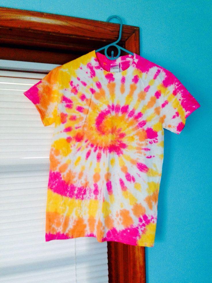 Sunset Spiral Tie Dye - Pink, Yellow & Orange Tie Dye Shirt - Custom Made Tie Dye Shirt - Adult Size Tie Dye Shirt - Pink Tie Dye T-Shirt by beachbumtiedye on Etsy https://www.etsy.com/listing/214443394/sunset-spiral-tie-dye-pink-yellow-orange