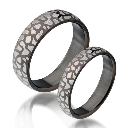 Name Engraved Vintage leopard skin matching couple rings - $19 usd pair price