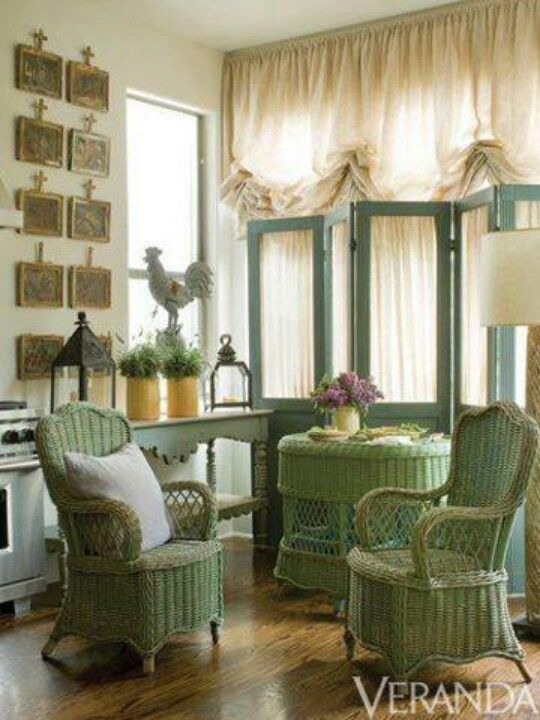 I Love The Vintage Green Wicker Furniture Screens Used As A Room Divider Well Shirred Curtains Space Has Casual Elegance To It
