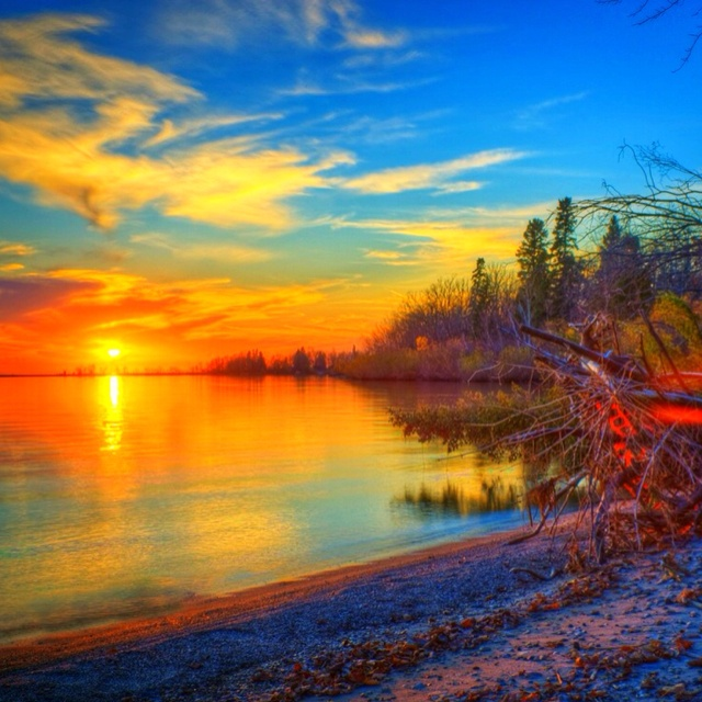 A spectacular sunset on the shores of Lake Winnipeg.