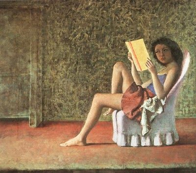 pintura de Balthus: Balthasar Klossowski, Lisant Katia, 1974, Artsy Fartsi, Reading Books, Katia Lisant, Katia Reading, Woman Reading, Paintings