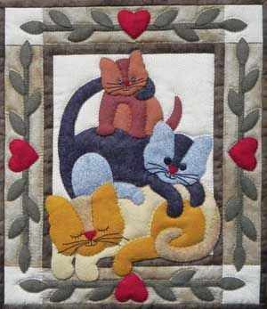 CAT STACK WALL QUILT KIT ~ LOVE this kitty pattern! And the border is perfect for it. I can't wait to get started on this one! <3<3<3