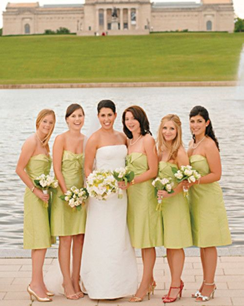 The bride and her bridesmaids pose in front of the pond at the St. Louis Art Museum, site of David's proposal. The bridesmaids wore dresses by Coren Moore.