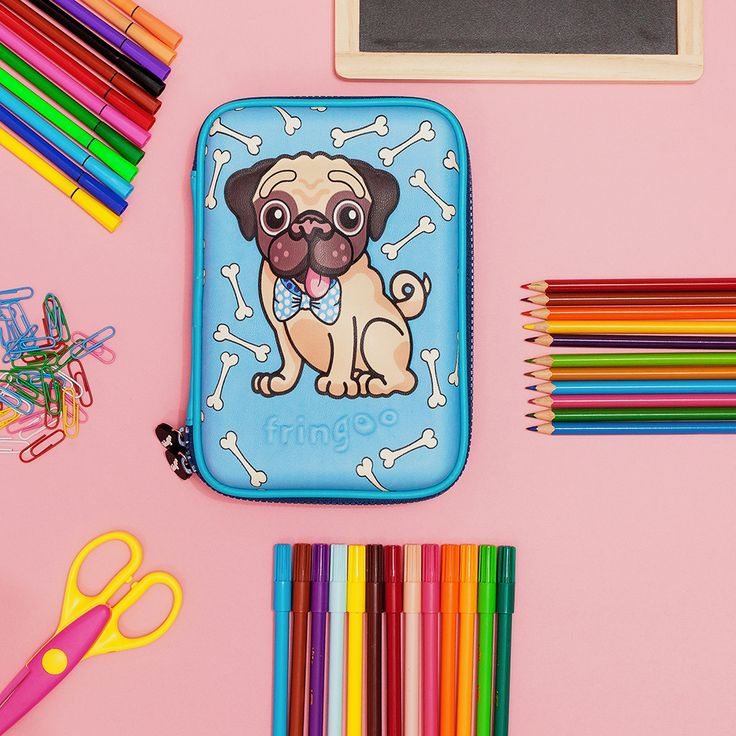 Excellent back to school stationary organiser. Unique pug design. Brilliant present for boys and girls.