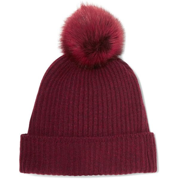 Karl Donoghue Pompom-embellished ribbed cashmere beanie (910 RON) ❤ liked on Polyvore featuring accessories, hats, beanies, burgundy, beanie caps, beanie hat, cashmere beanie, cashmere beanie hat and pom pom beanie
