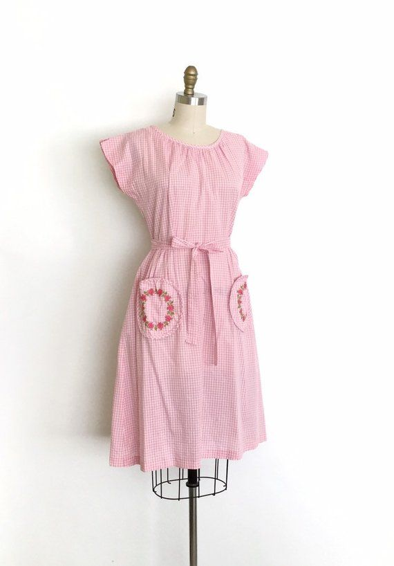 Vintage 1950s Dress 50s Pink Gingham Swirl Dress Swirl Dress Vintage 1950s Dresses Dresses