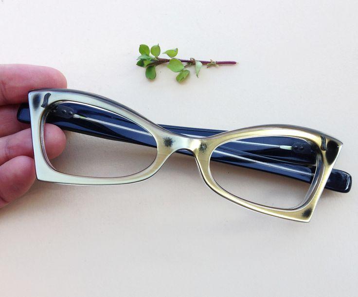 50s Cat-Eye Frames / Vintage french deadstock eyeglasses 1950s / pin up gold glasses / nos Sunglasses / mid century madmen cateye spectacles (85.00 EUR) by Skomoroki