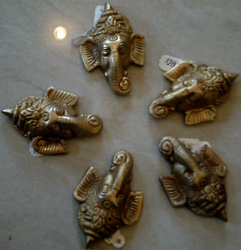 A Set of 5 Pcs Ganesha Ganesh Mask Wall Hanging Home Decor