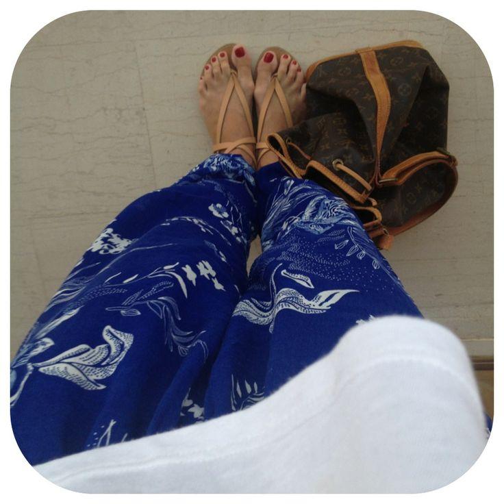 Outfit of Day:24/7 #oysho pants #zara sandals #louis_vuitton_noe bag #fashion #women's fashion #ootd