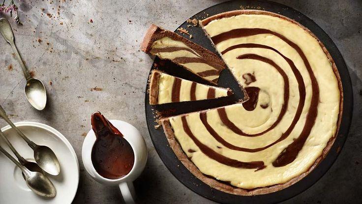 Dvoubarevný tvarohový koláč