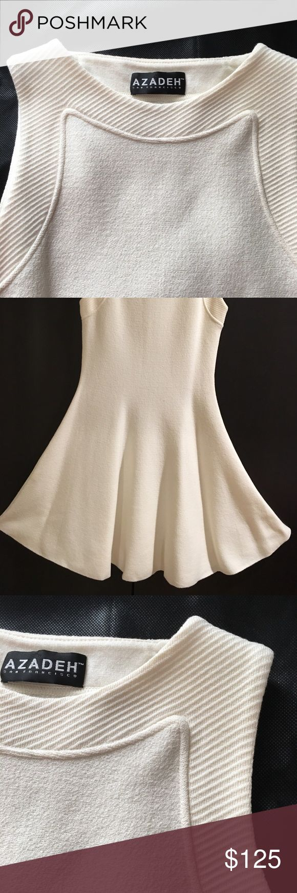 Azadeh Couture Cream Cocktail Dress Sleeveless cream-colored dress that is a brilliantly versatile piece in any wardrobe. From the international designer Azadeh's Florence collection, its fit-and-flare is pure comfort. Azadeh Couture Dresses