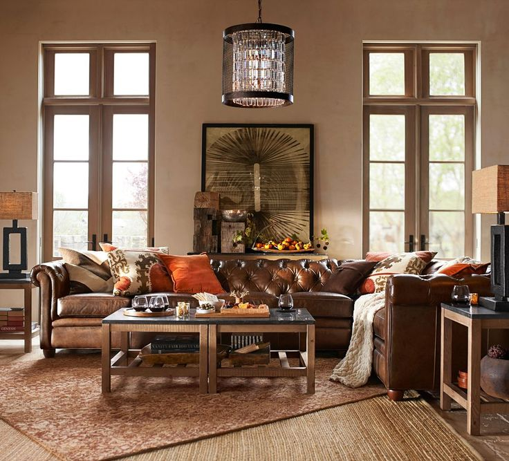 Chesterfield Leather Right Arm 3 Piece Corner Sectional