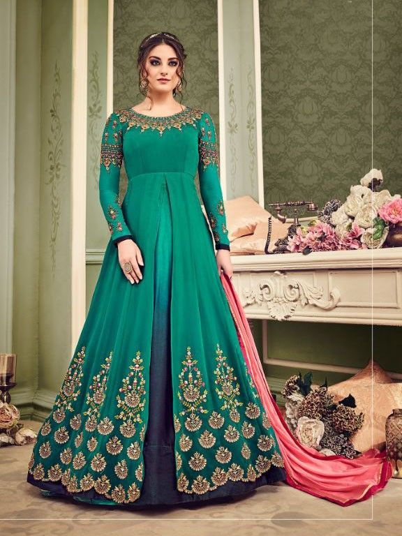 a1cd2ab6f8 +Green+Color+Designer+Beautiful+Design+embroidery+Bridal+Wedding+Anarkali+ Suit+for+Women