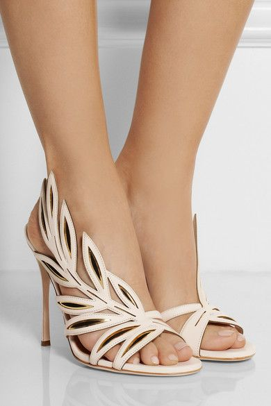 Heel measures approximately 110mm/ 4.5 inches Cream leather Elasticated slingback strap, gold mirrored and black suede panels, open almond toe Slip on