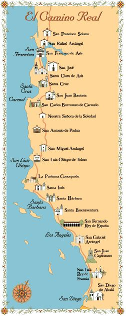 Map of CA missions, I wanna do a Missions vacation one of these days