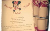 Invitatie botez tip pergament Minnie Mouse