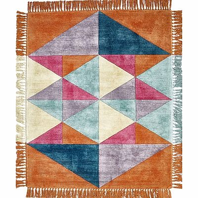 Ultramodern, contemporary and luxury 'Orange Triangles' rug