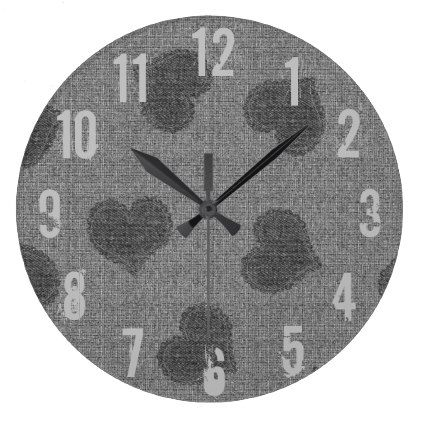 Cool Rustic Fabric Look Hearts Wall  Clock - home gifts ideas decor special unique custom individual customized individualized