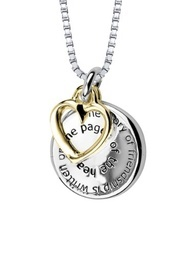 "Sterling Silver ""The Story of Friendship Is Written On the Pages Of The Heart. I am a Better Me Because Of You"" Two Tone Pendant Necklace, 18"""