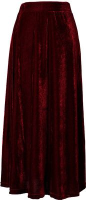 Chicwish Velvet Pleated Maxi Skirt in Wine Red