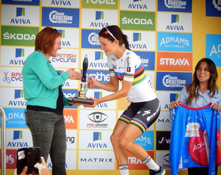 Lizzie Armitstead receiving the 'best British rider' jersey sponsored by #Adnams. #AATR #allabouttheride #cycling #roadcycling #avivawomenstour #tourofbritain #Norwich #worldchampion