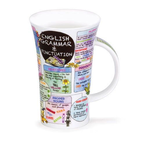 "Dunoon English Grammar Mug   Say cheers to this elegant mug containing useful information about proper English grammar and punctuation! Discover the difference between common, proper and abstract nouns, while unraveling the mysteries of correct sentence punctuation and much more.  A perfect gift for teachers, students and anyone who wants to improve his or her communication skills, this 6"" tall mug holds approximately 17oz. and is made of fine bone china in England by Dunoon, a market leader…"